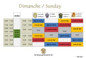 Planning Dimanche